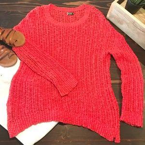 Coral Volcom Crochet Sweater Size Medium